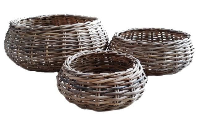 LRB27 #Round kubu Rattan Basket Set Of 3