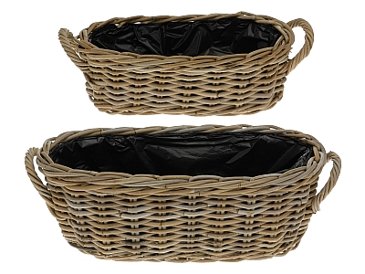 LRB11 #Kubu Rattan Planter Basket set of 2
