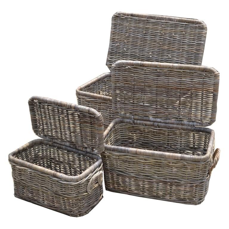 LRB19 #Kubu Rattan Trunk Basket Set of 3